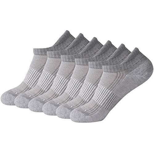 FOOTPLUS Unisex Copper Ankle Running Golf Tennis Basketball Exercise Yoga Anti Burn Socks, 6 Pairs Light Gray, Medium