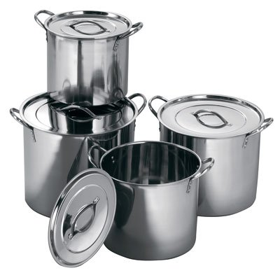 SET OF 4 DEEP STAINLESS STEEL STOCKPOTS STOCK POT PANS