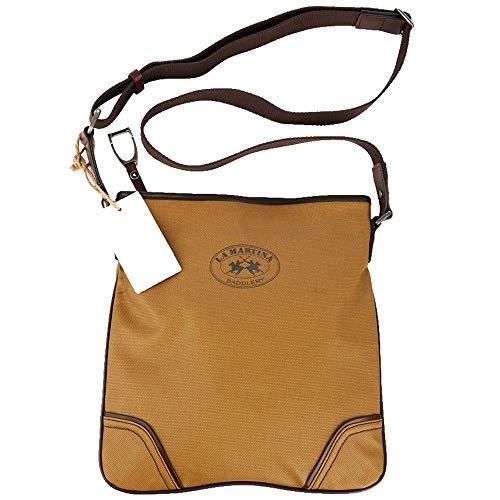 La Martina Tasche Umhängetasche Damen Herren, Umhänge Tasche Vintage, Für Arbeit, Schule, Tablet, iPad, Reisedokumente, Maße: 28 x 30 x 6cm, Senfgelb