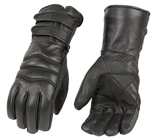 Men's Premium Leather Gauntlet Gloves w/Long Double Strap Cuff, Warm Lined Motorcycle Gloves (Black, L)