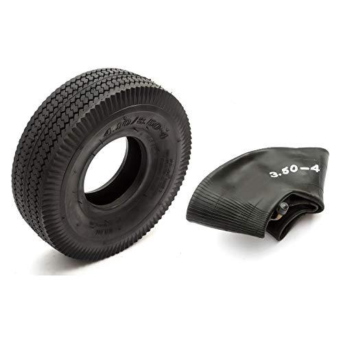 Neumático y Cámara Interior 4.10 / 3.50-4 Mini Bicicleta BMX Negro Bloque Surcos 4 Inch Llanta 4 Capas