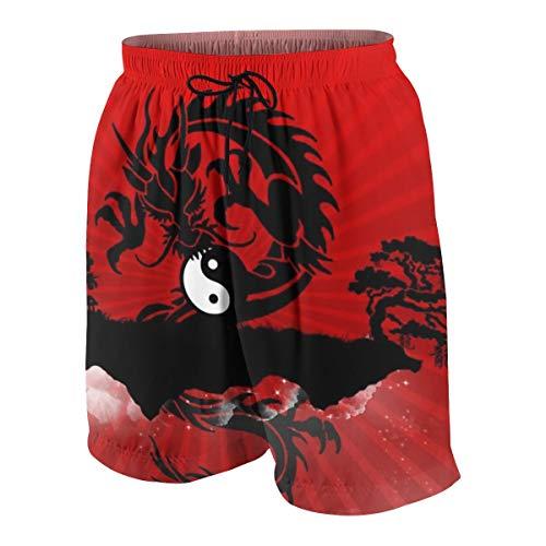 Hebb Surf Herren Jungen Badehose schnell trocknend Yin Yang Dragon Red 7–20T, Herren, weiß, S(7-8)
