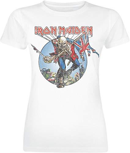 Iron Maiden Burst Trooper Mujer Camiseta Blanco S, 100% algodón, Regular