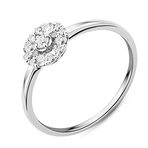 Miore - Bague Solitaire - Or Blanc 9 cts - Diamant 0.23 cts - T54 - MY041R4