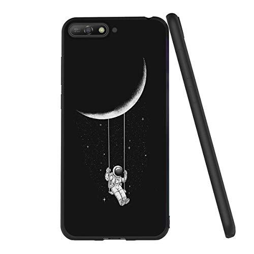 Yoedge Cover Huawei Y6 2018, Sottile Antiurto Custodia Nero Silicone TPU con Disegni Pattern Ultra Slim 360 Protective Bumper Case per Huawei Y6 2018, Astronauta