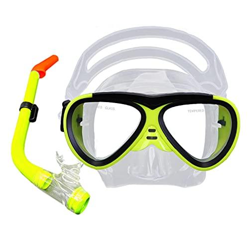 Niño Gafas Buceo Gafas Snorkel Juego de Snorkel con Antifugas Antirayones Vidrio Endurecido, Silicona Mascara Buceo Snorkel con Visión HD Ajustable