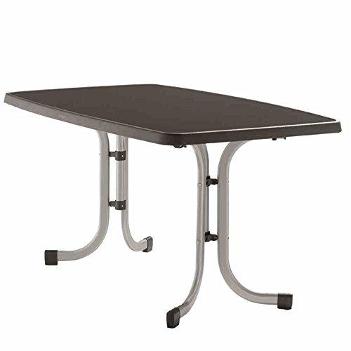 Sieger 253/A Boulevard-Klapptisch mit mecalit-Pro-Platte 150 x 90 cm, Stahlrohrgestell graphit, Tischplatte Schieferdekor anthrazit