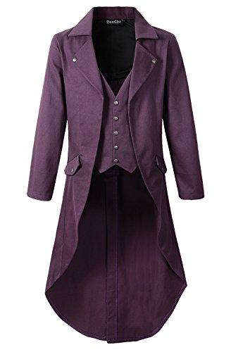 Mens Gothic Tailcoat Jacket Black Steampunk VTG Victorian Coat (3XL, Purple)