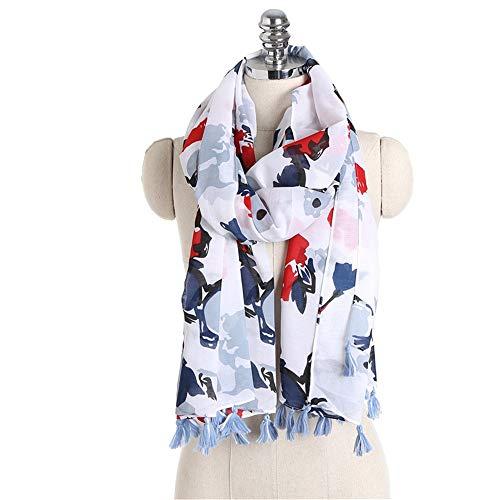 MOMIN Bufanda Mujer Bufandas Ligeras Primavera Verano Mujer Bufanda Mujer algodón Ropa Impresa Bufanda a Rayas patrón geométrico mantón Regalos Elegantes (Color : White, Size : 180x95cm)