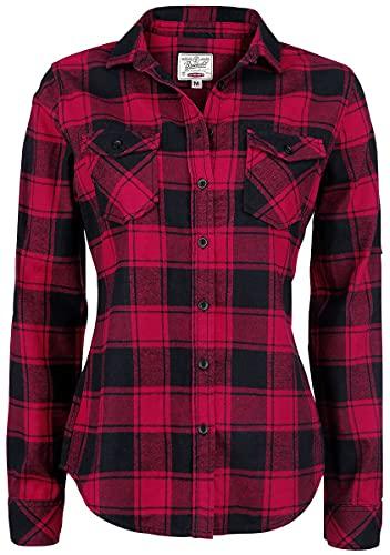 Brandit Amy Flanell Checkshirt Girl-Hemd schwarz/rot - M