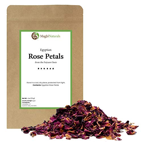 Red Rose Petals, Dried | Culinary Grade A | Egyptian fields in Faiyum | 4 Ounces (Quarter Pound)