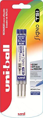 Uni-Ball UFR220/07 B Moyen Bleu 3pièce(s) recharge pour stylos - Recharges pour stylos (Bleu, Moyen, Gris, Acier inoxydable, 0,7 mm, Stylo à bille)