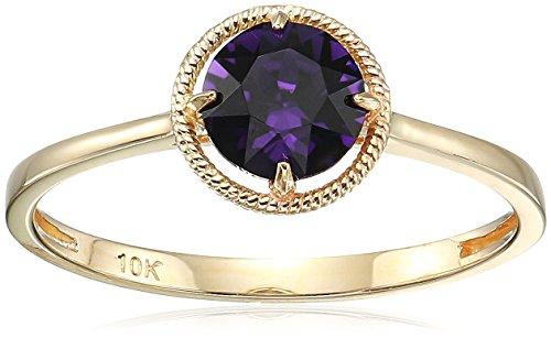 10k Gold Swarovski Crystal February Birthstone Ring, Size 8