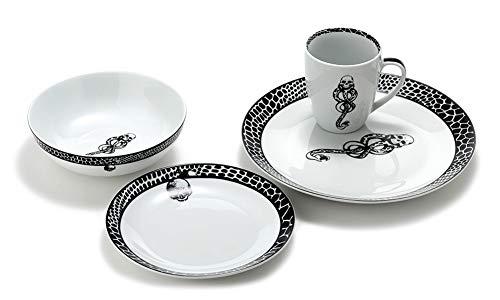 Harry Potter Voldemort Death Eater Dark Mark Porcelain 16 Piece Dinner Set, Includes Plates, Cups, and Bowls