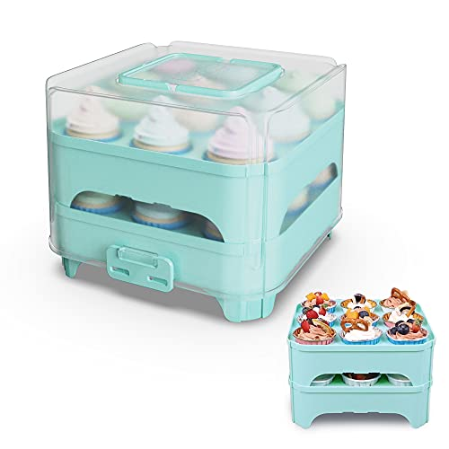 Cupcake Storage Carrier, 2-Layer Cupcake Carrier Cake Carrier Holder Portable Reusable Cupcake Box for Pie Cookies