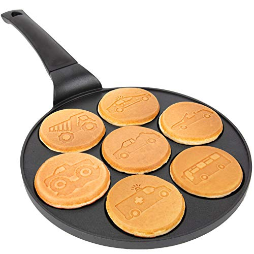 Car & Truck Mini Pancake Pan - Make 7 Unique Flapjack Cars, Nonstick Pan Cake Maker Griddle for Breakfast Fun & Easy Cleanup