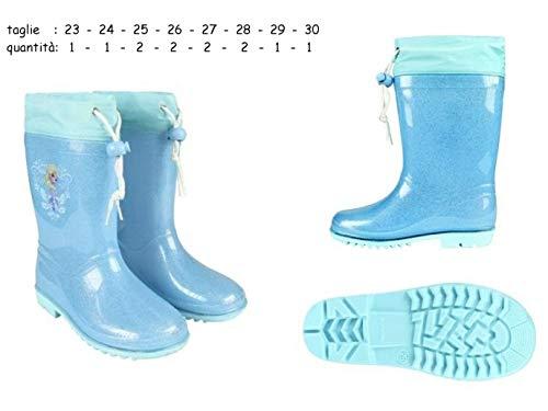 Elsa Disney Bottes de pluie pour fille en caoutchouc N°23 bleu ciel avec paillettes et motif La Reine des neiges
