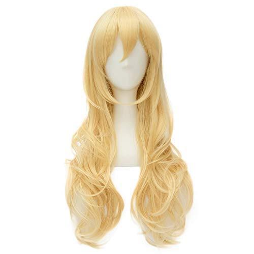 Peluca altamente restaurada anime tu mentira en abril Miyazono Kaori Golden Long Curly peluca Cosplay traje resistente al calor pelo sintético mujeres pelucas vale la pena comprar por los entusiastas
