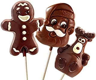 No Whey Foods - Chocolate Lollipop Christmas Assortment (3 Pack) - Allergy Friendly And Vegan Chocolate Candy- Dairy Free, Nut Free, Peanut Free, Soy Free, Gluten Free