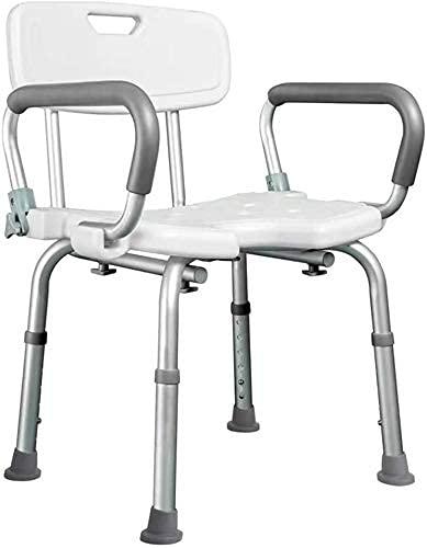 IF.HLMF Badewannensitz Duschstuhl mit gepolsterten Armlehnen und Rückenlehne, weißer Badewannenlifter Duschhocker mit Armlehnen, für Behinderte, Behinderte, Senioren und Behindertenhilfe