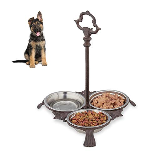 Relaxdays Napf Gusseisen, Napfstation für Hunde & Katzen, 3 Edelstahlnäpfe je 200ml, antik, Griff, Outdoor, Dunkelbraun, 1 Stück