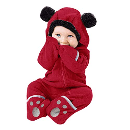 Toodii Baby Girl's and Baby Boy's Fleece Cartoon Ears Zip Hooded Romper Jumpsuit (Red, 0-3 months)