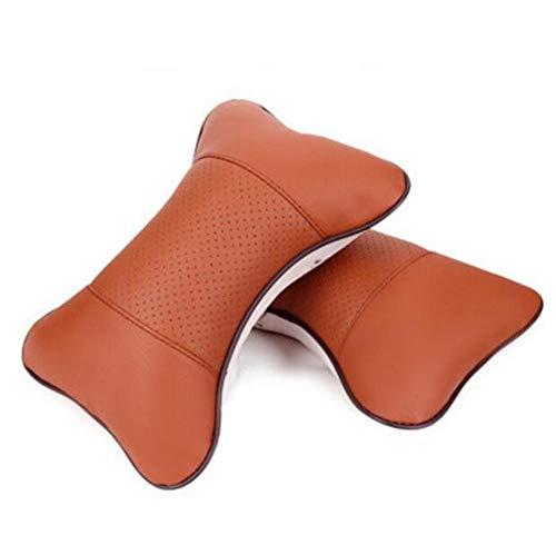 FGF nekkussen voor de autostoel, hoofdkussen. Zacht, kunstleer van polyurethaan (PU), kussen voor hoofdsteun, 2 stuks bruin