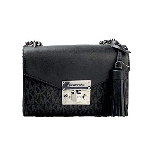 """Imported Flap Closure 1 MK Tassel 1 Slip In Pocket At Back Exterior Smooth Leather On Flap Top Closure Silver Toned Hardware Custom Fabric Lining 3 Card Slips Measures 7.25""""(L) x 5.5""""(H) x 3""""(D) Strap: 18"""""""