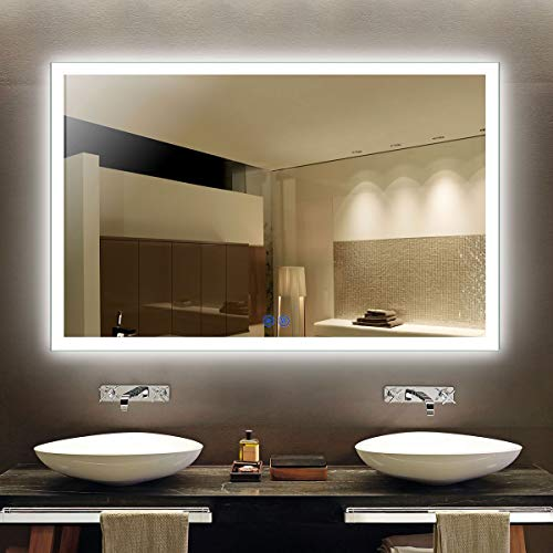 Decoraport Dimmable LED Bathroom Mirror 55 Inx36 in, Anti-Fog Wall Mounted Lighted -