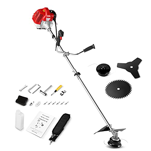 58CC Straight Shaft Gas Powered Weed Eater, 2-Cycle 3-in-1 Gas String Trimmer and Brush Cutter, Weed Wacker with 4 Detachable Head and Multiple Accessories for Lawn, Grass, Weed (2021 Updated)