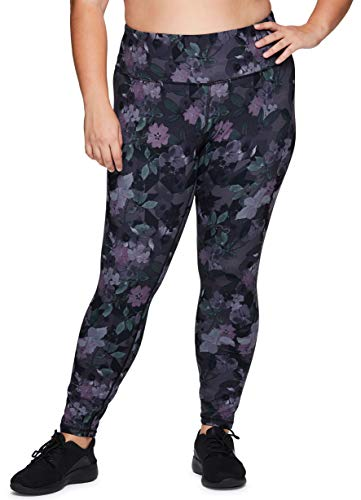 RBX Active Women's Plus Size Super Soft Peached Floral Print Full Length Athletic Running Yoga Legging Multi Purple 1X
