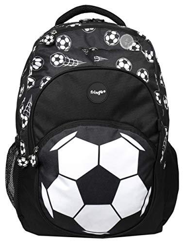 Fringoo - Grosser Kinderrucksack für Jungs | Perfekt als Schultasche oder als Reisetasche | Fächer und Loch für Kopfhörer - Fussball Schwarz