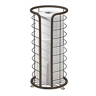 mDesign Metal Free Standing Toilet Paper Stand, Holds 3 Rolls, 2 Pack