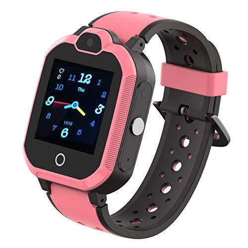 4G Wasserdicht Kinder Smartwatch Telefon, Handy Uhr für Kids, mit Anti-verlorener GPS WiFi LBS Ortung Tracker, Videoanruf, Rufen, SOS, Voice Chat, Pedometer, für Mädchen oder Jungen (Rosa)
