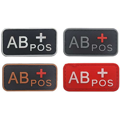 Blood Type Patch Kit AB Pos, Tactical Type AB Positive 3D PVC Rubber Fastener Patches, 1.97 X 0.98 Inch Sized, Bundle 4 Pieces