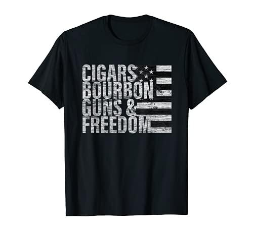 Cigars Bourbon Guns & Freedom T-shirt Flag Tee