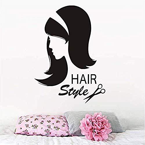 Barber Shop Wandaufkleber Vinyl Schere Sex Girl Haarschnitt Wandtattoo Interieur Friseur Abnehmbare Frisur Beauty Salon 43X59Cm