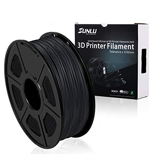 SUNLU 3DプリンタフィラメントPLA炭素繊維プラスグレーブラック、PLA炭素繊維プラスフィラメント1.75 mm、低臭気寸法精度+/- 0.02 mm、3D印刷フィラメント、3Dプリンタおよび3Dペン用LBS(1KG)スプール、グレーブラック