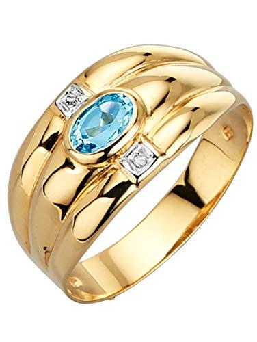 KLiNGEL Damen 925 Silber Ring mit Blautopas (beh.) in Blau und Diamant in Weiß