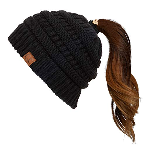 Hatsandscarf CC Exclusives Solid Color Beanie Tail Hat for Adult (MB-20A) (Black)