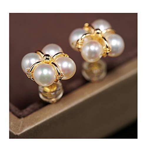 KGDC Pendientes 5-6mm Pendientes de Perlas de Agua Dulce Brillante de 5-6 mm Pendientes de diseño Femenino de trébol de Cuatro Hojas 14k Oro Aretes para Mujeres