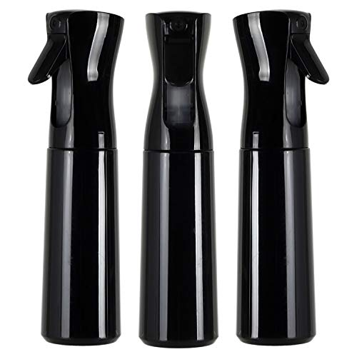 Houseables Continuous Spray Water Bottle, Hair Mist Sprayer, Black, 12 Oz, 3 Pack, 10', Ultra Fine, Solvent & BPA Free Clear Plastic, Pressurized Mister, With Pump, For Stylist, Salon, Barber