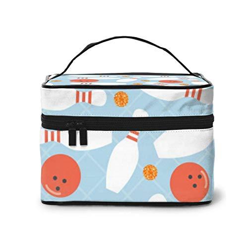 Bowlingkugel & Orange Dot Glittertravel Kosmetiktasche, Make-up-Tasche Kulturbeutel, tragbar für Kosmetik Make-up-Pinsel Toilettenartikel Reisezubehör