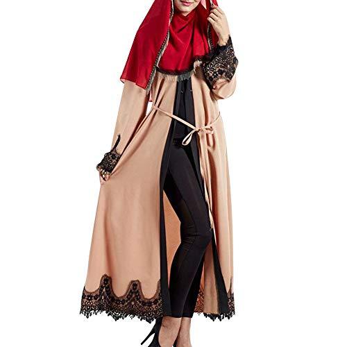 Yudesun Damen Muslim Kleid - Arabien Islamische Gebet Kleid Spitze Muslimische Kleidung Lang Ärmel Lang Mantel Abaya Morgenmantel,Aprikose,XL