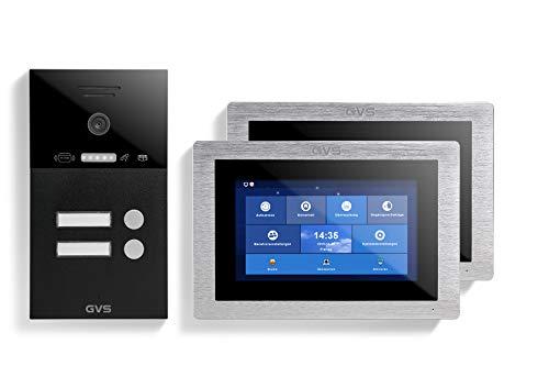 GVS Videoportero IP IP65 con RFID, monitor de 2 x 7 pulgadas, aplicación, cámara HD de 120°, apertura de puertas, memoria de 32 GB, interruptor PoE, juego de 2 casas, AVS4306A