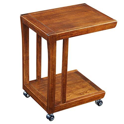 KXDLR kleine salontafel met wielen massief hout eenvoudige mini-bank Side eenvoudige tafel slaapkamer nachtkastje (kleur: walnoot kleur)