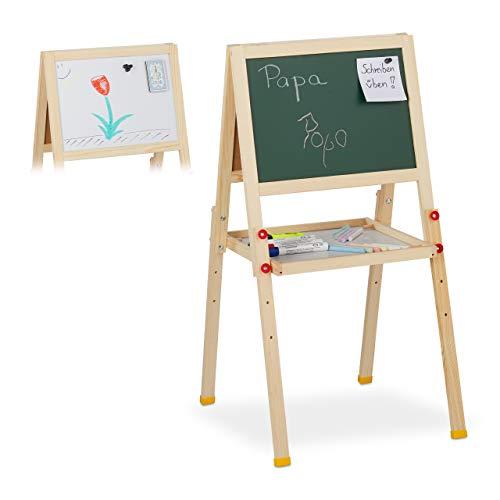 Relaxdays 10027237 Tableau droit enfant, magnétique deux côtés, craie et marqueur, réglable en hauteur, HlP 77x39x44,5 cm, nature, bois, Taille Unique
