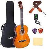 クラシック ギター 39インチ 4/4ナイロン 弦 小学生 大人用 ギター初級セット バッグ ストラップ チューナー ピアノクロス ピック