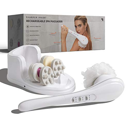 SHARPER IMAGE Rechargeable Wireless Shower Massager, 5 Unique Massage and Spa Heads, Portable and Lightweight, Sponge Loofa Pumice Stone, 7 Point Knobby Massage Head, Rejuvenate Your Skin