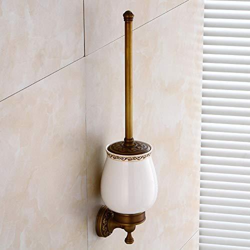 Escobillas de Baño Soporte de Cepillo de Aseo de baño, Color de latón Antiguo, Material de latón sólido, montado en la Pared, Tipo Europeo Tradicional para el Hotel